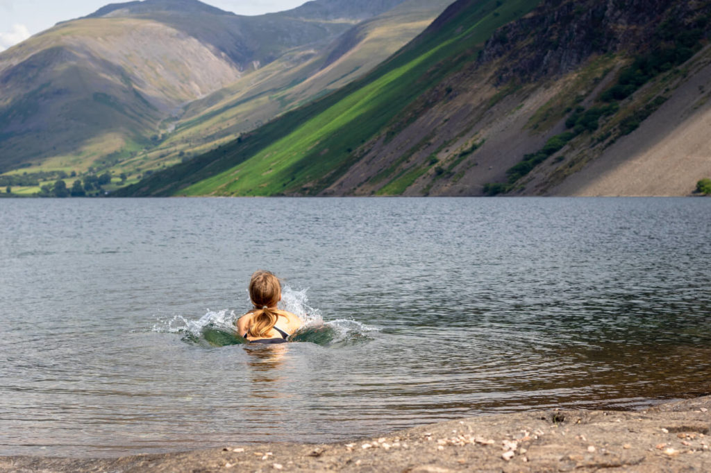 Wast Water in the Lake District NationalPark in the UK. Wild Swimming