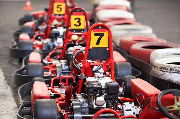 Go-karts driving around a track