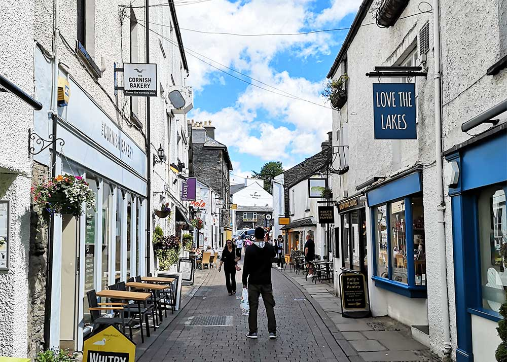 Cobbled streets in Bowness-on-Windermere