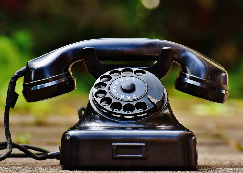 Antique style black telephone