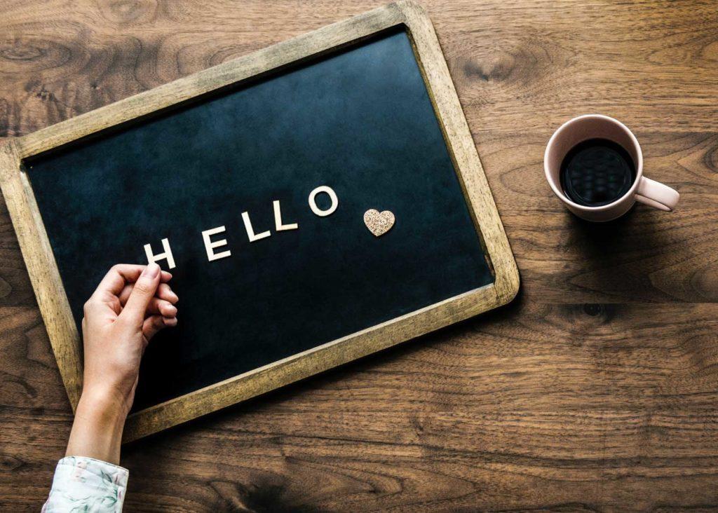 Blackboard with 'hello' message written on