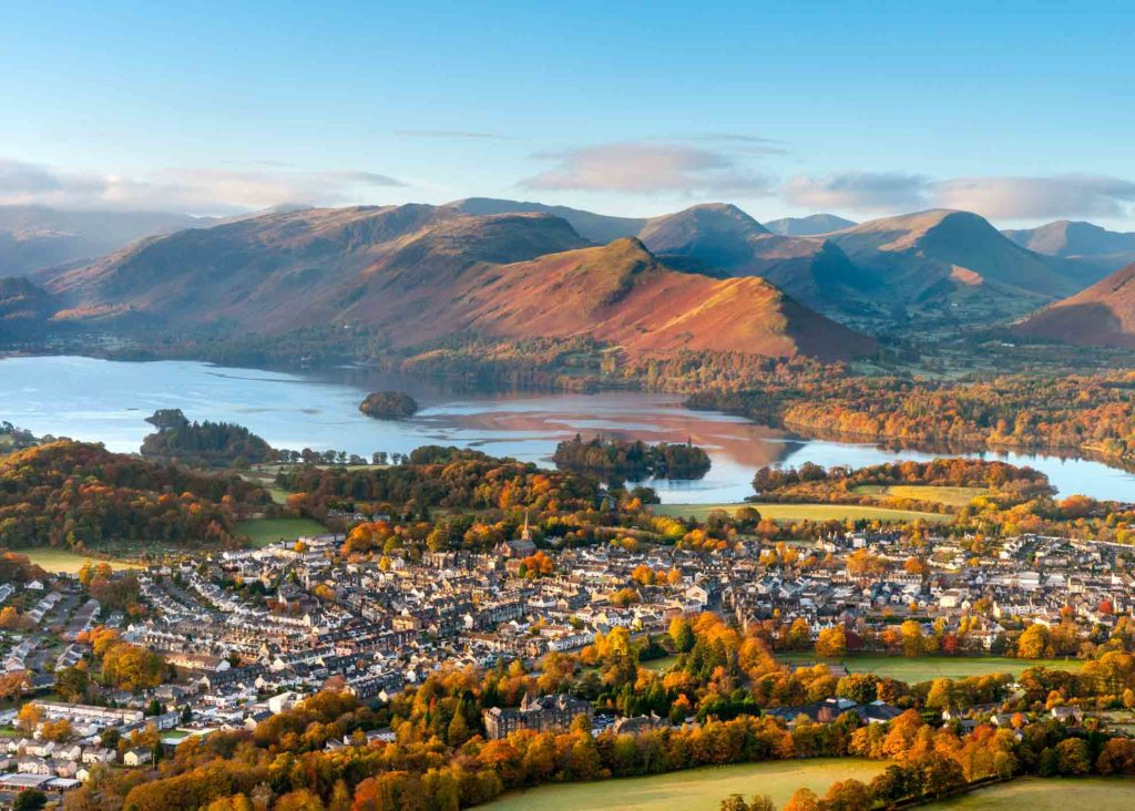 The town of Keswick with Derwentwater and Catbells in the distance