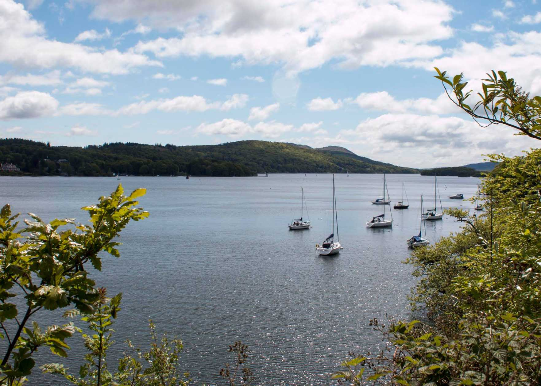 Boats on Lake Windermere from Claife Heights