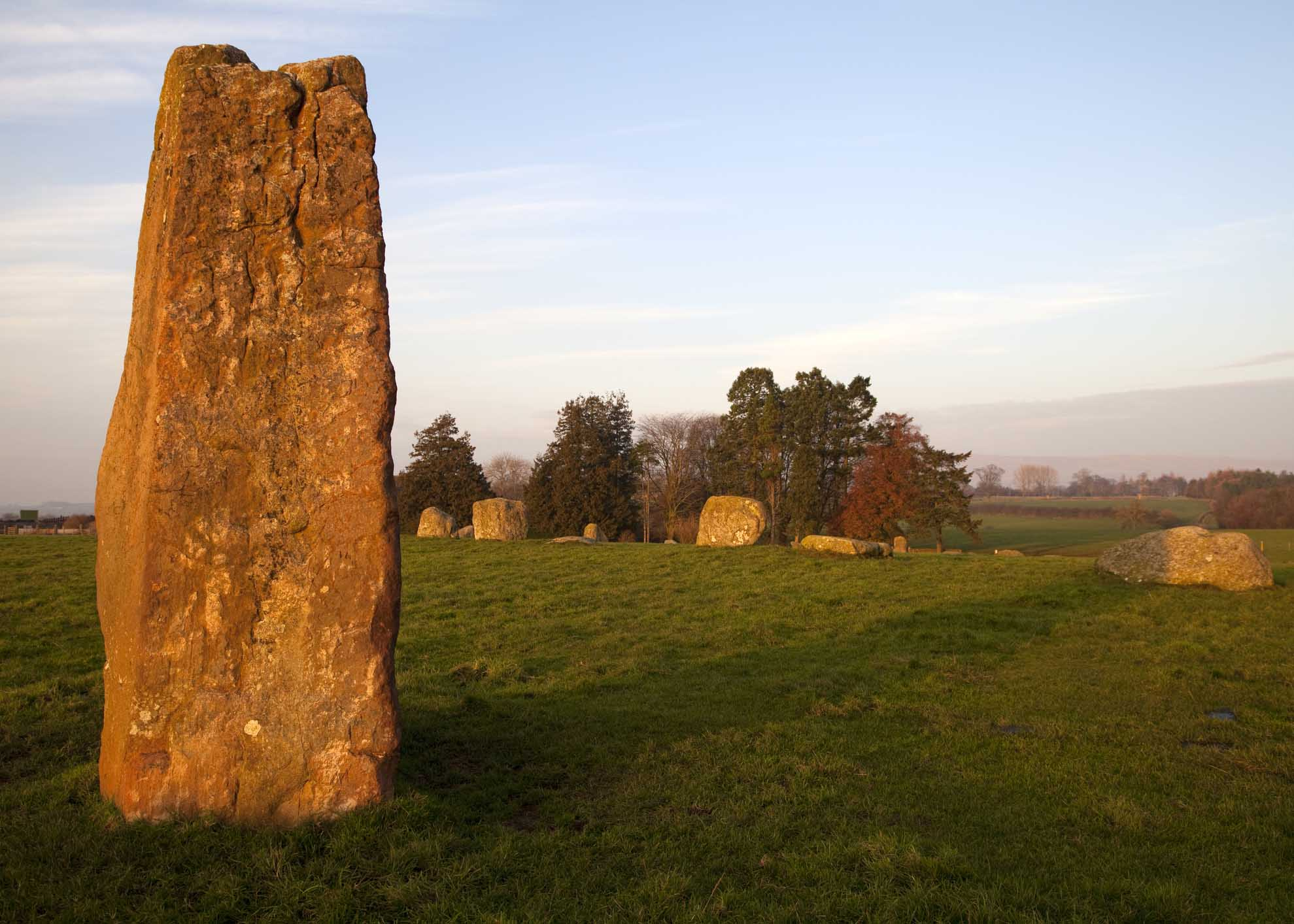 Sunset light on Long Meg and Her Daughters, a Bronze Age stone circle near Penrith in Cumbria, North West England.