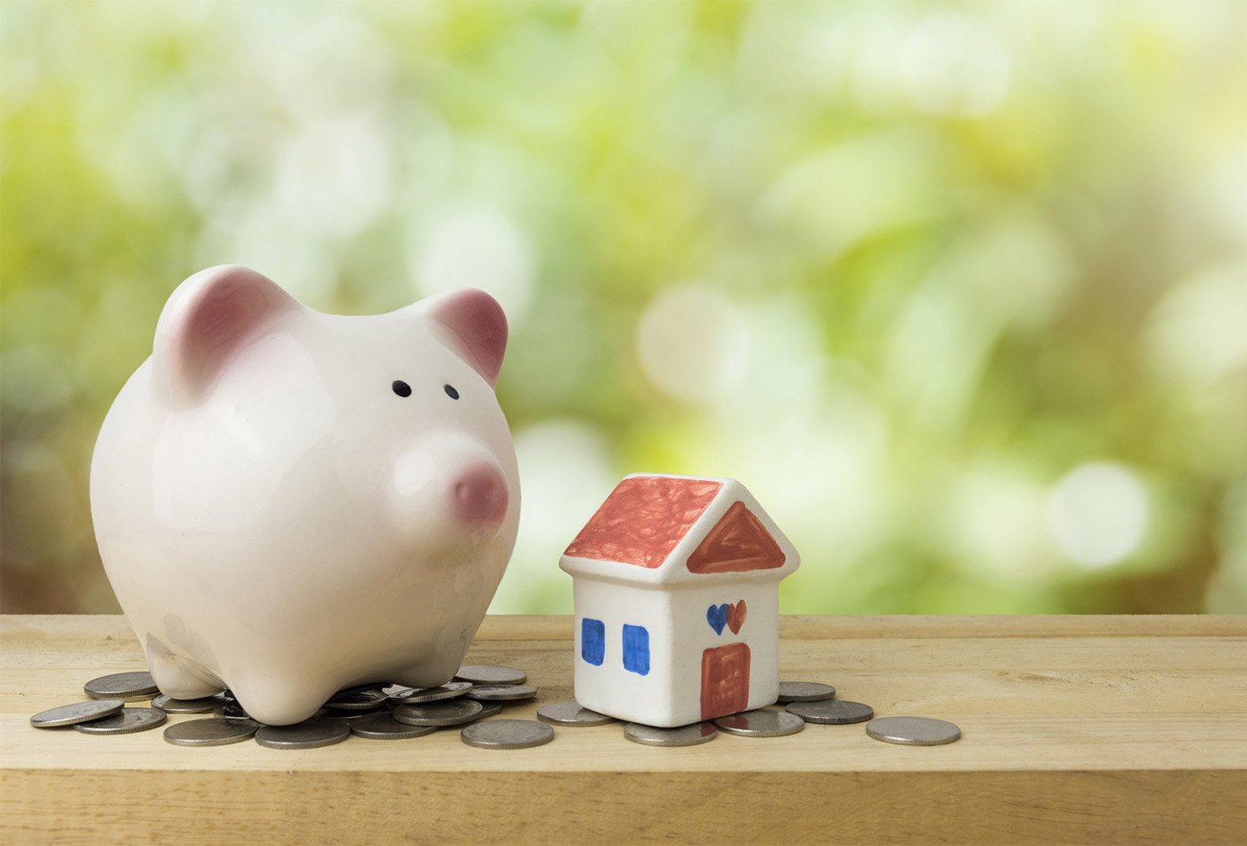 piggy bank save money for house , saving money concept