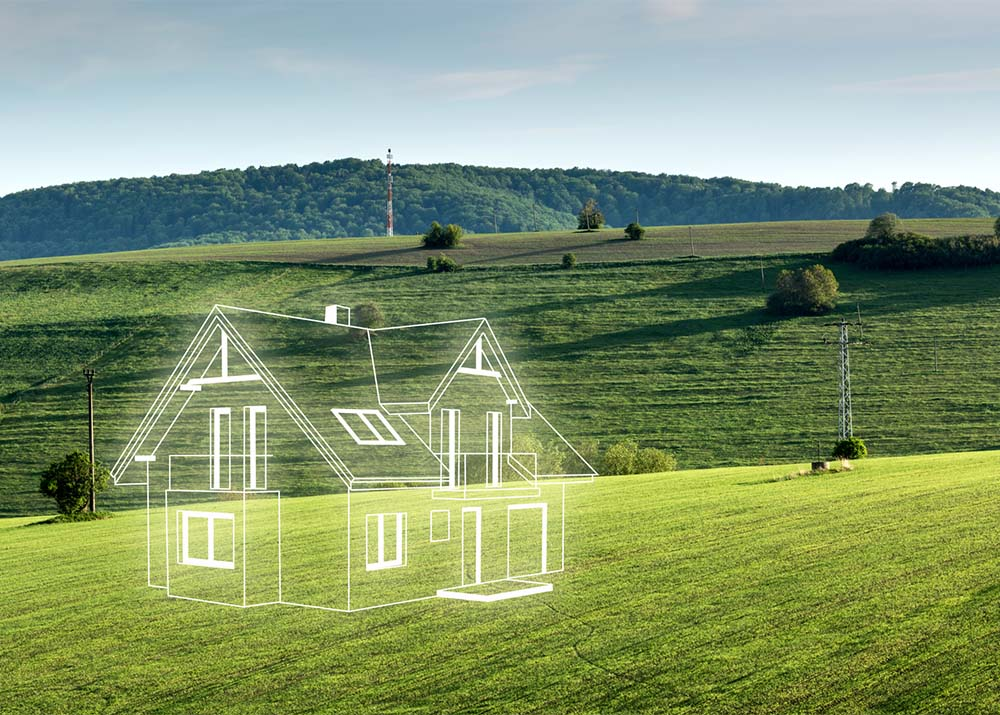 Concept of dreams about a new home. Contours of the house in 3d on a meadow.