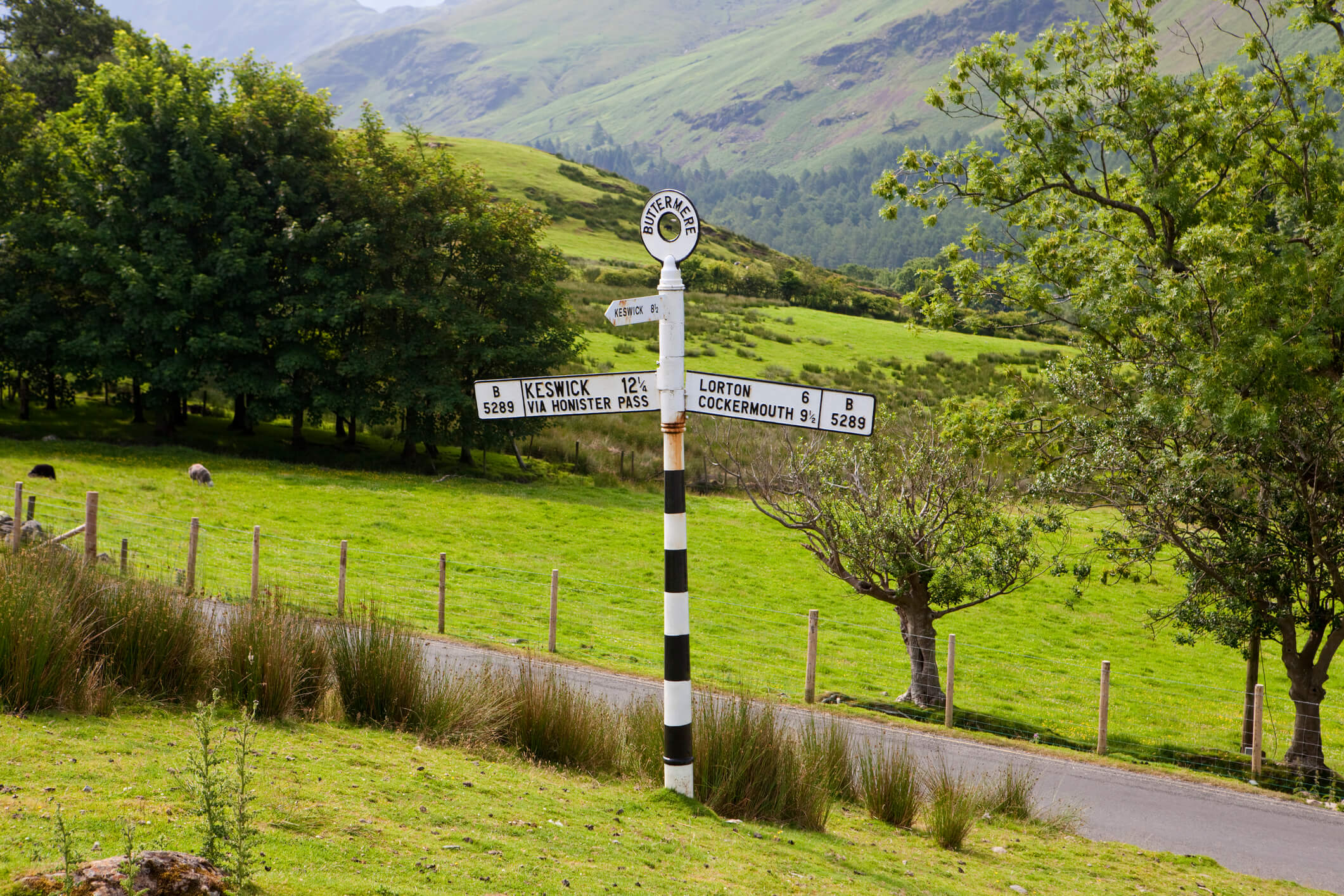Buttermere road Sign in the Lake District National Park in north west England.